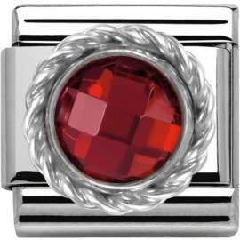 Maillon Nomination classic pierre ronde rouge