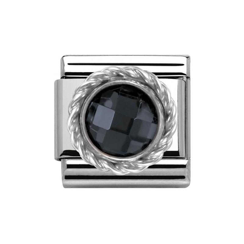 Maillon Nomination classic pierre ronde noire
