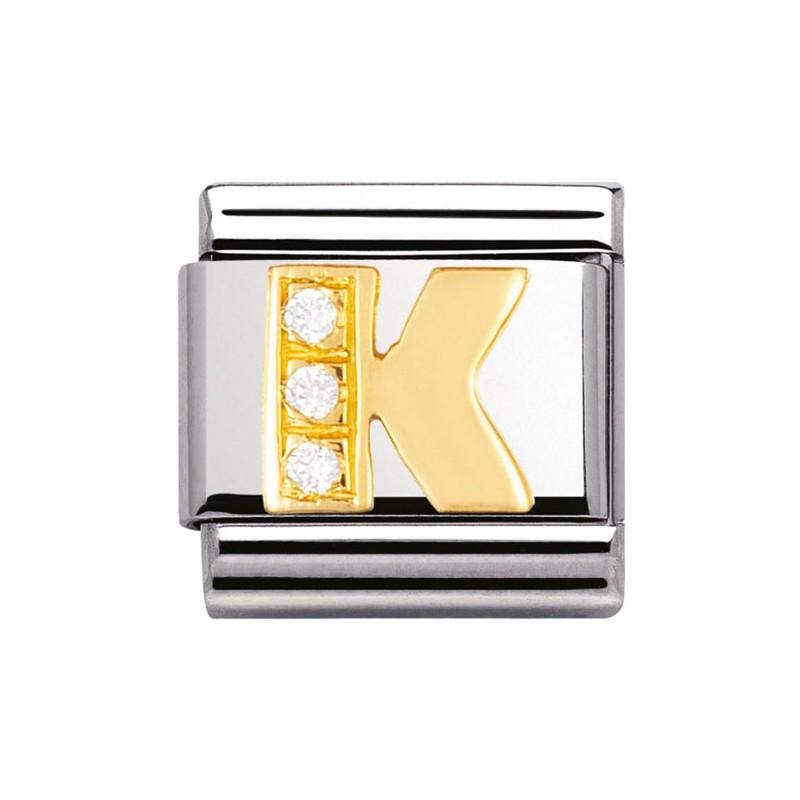 Maillon Nomination classic Lettre K en Or et pierres