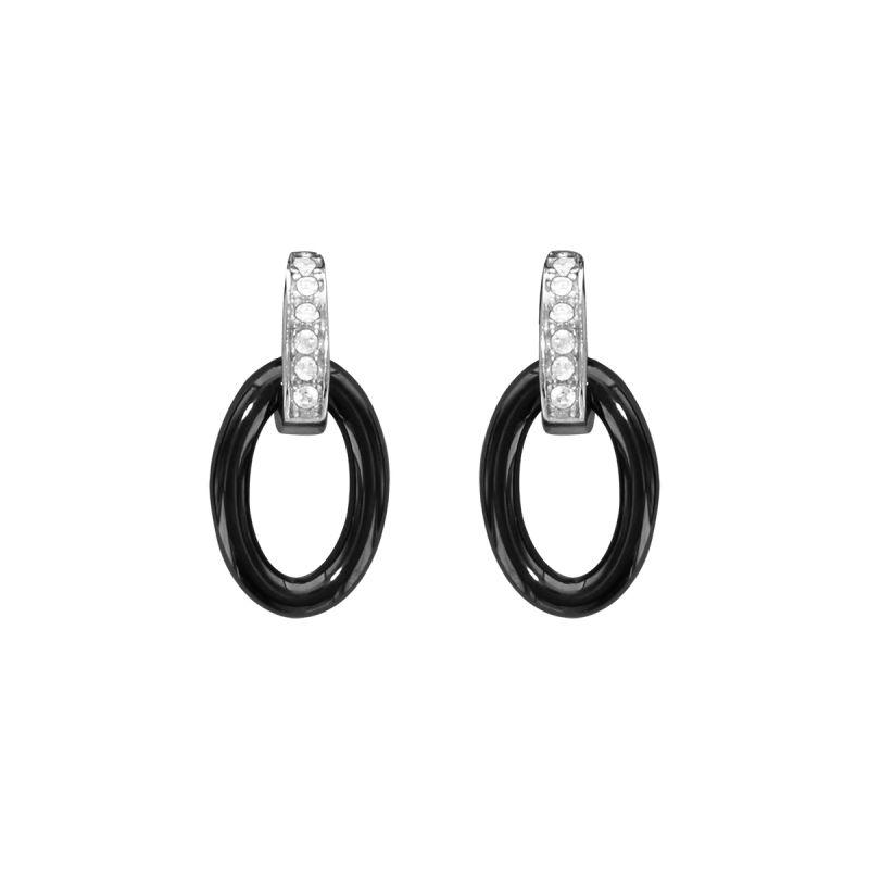 Boucles d'oreilles Argent, céramique et oxyde de zirconium