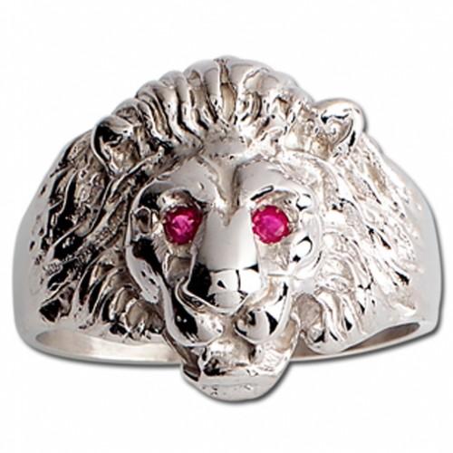 Chevalière tête de lion Argent et Rubis