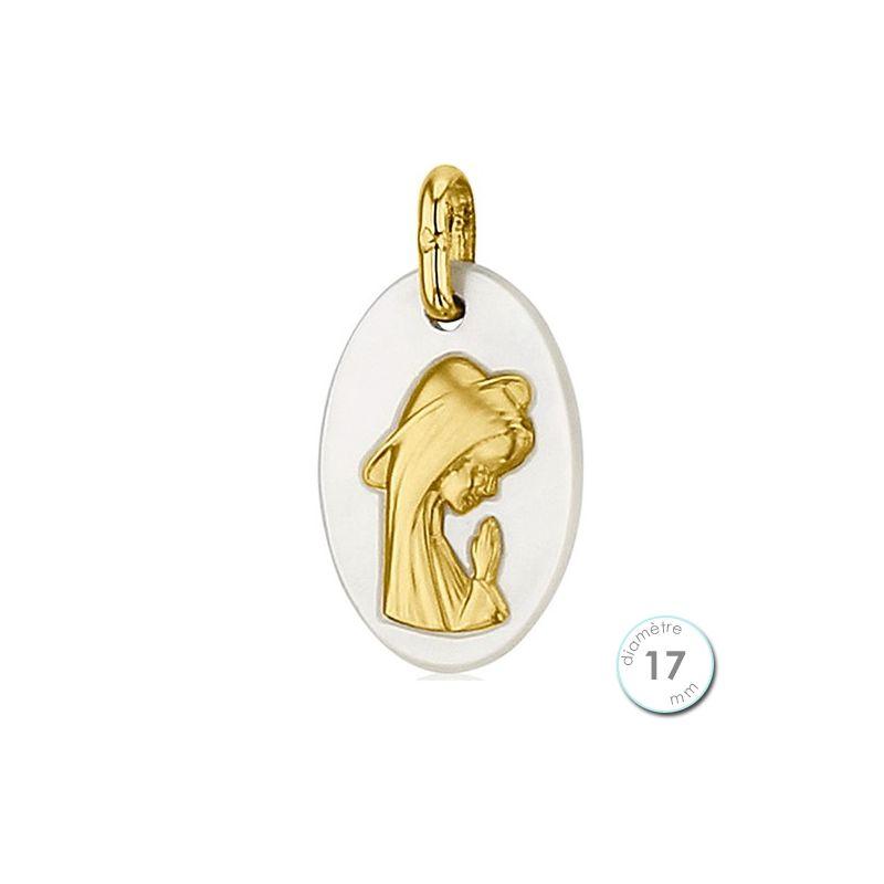 Médaille de baptême Vierge en Or et nacre
