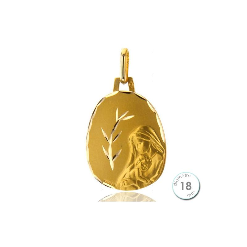 f48df2462 Médaille de baptême Vierge à l'enfant en Or - Augis