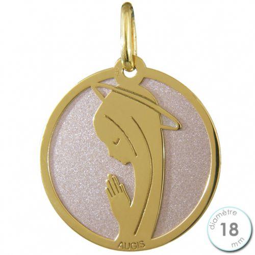 Médaille de baptême Vierge en Or et acier - Augis
