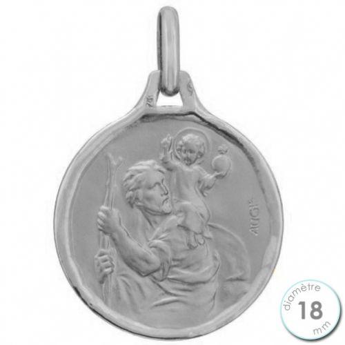 Médaille Saint Christophe en Or blanc - Augis