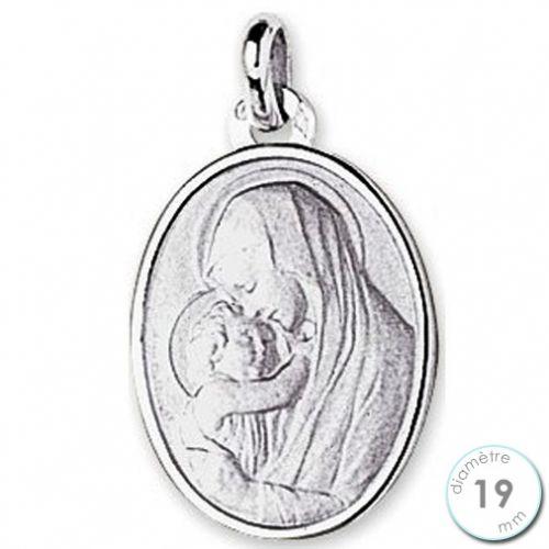 Médaille de baptême Vierge à l'enfant en Or blanc