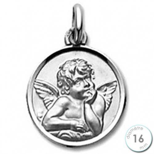 Médaille de baptême Ange en Or blanc 9 carats