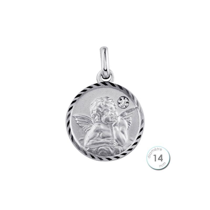 Médaille de baptême Ange en Argent et Diamant