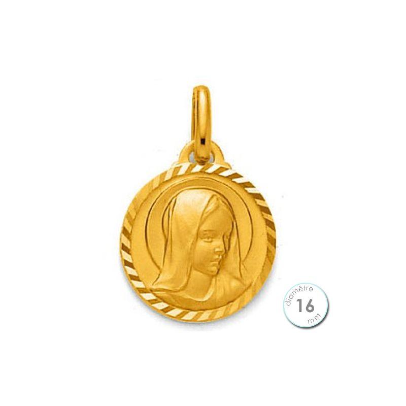 Médaille de baptême Vierge en Plaqué Or