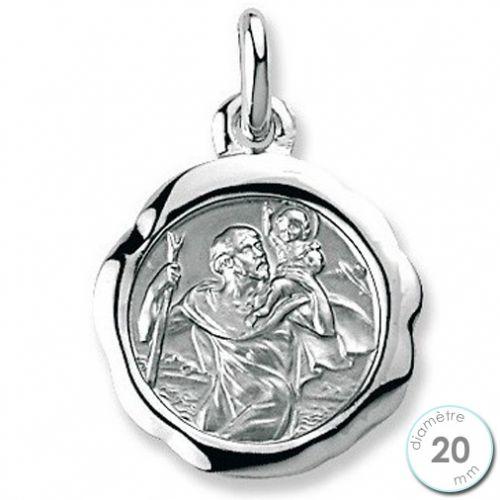 Médaille de baptême St Christophe en Argent