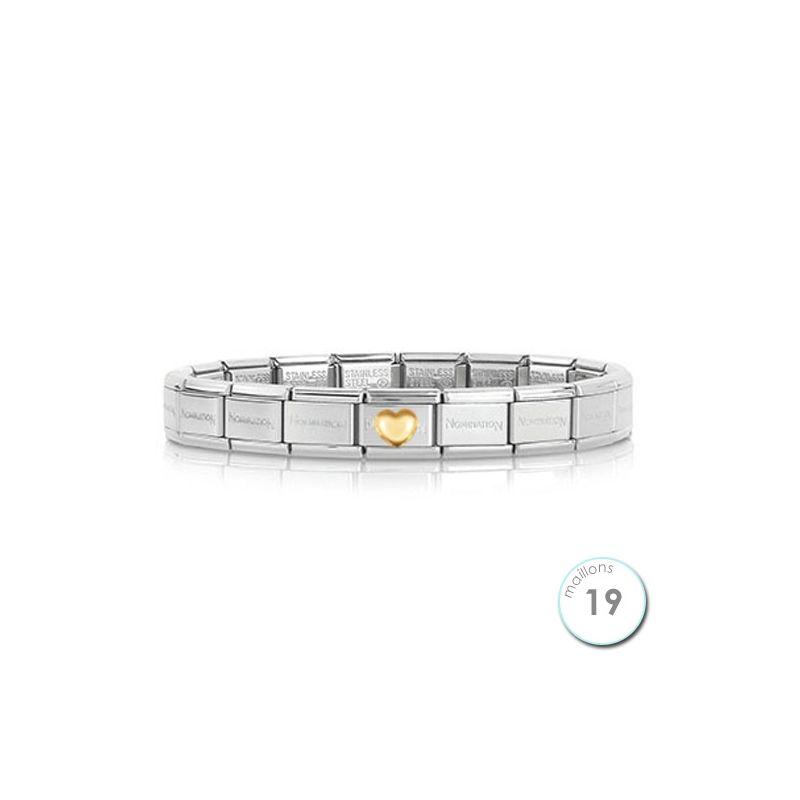 Bracelet Nomination base Acier et coeur bombé Or