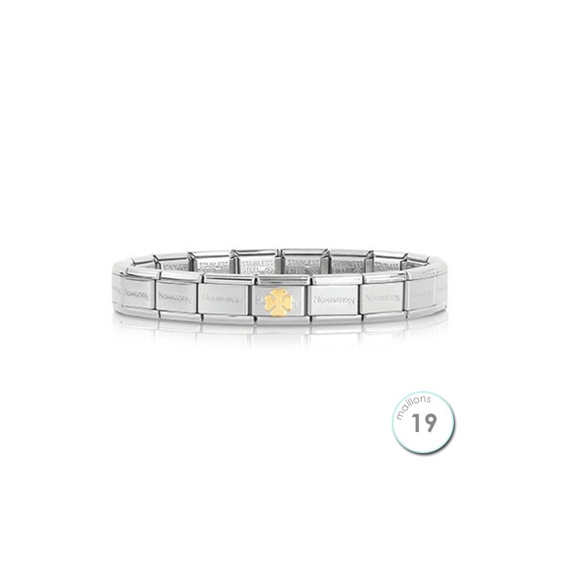 Bracelet Nomination base Acier et trèfle en Or