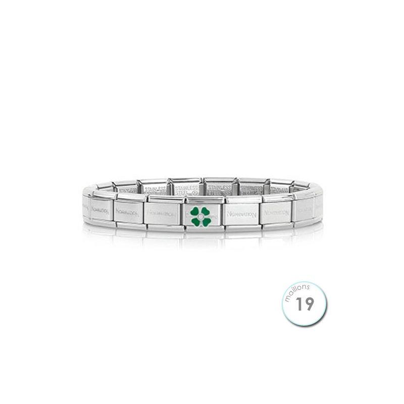 Bracelet Nomination base Acier et trèfle vert Argent