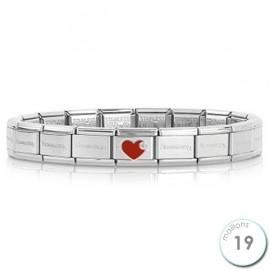 Bracelet Nomination base Acier et coeur rouge Argent