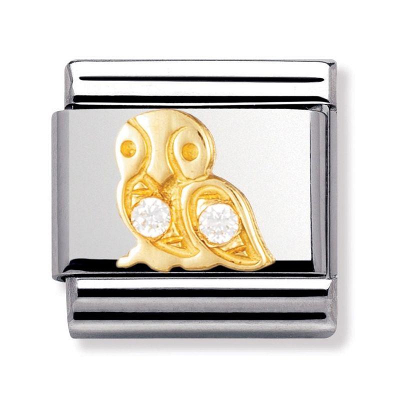 Maillon Nomination classic hibou avec oxydes blancs