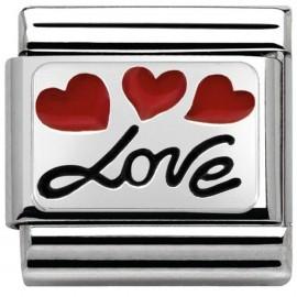 Maillon Nomination classic Argent Love et coeurs