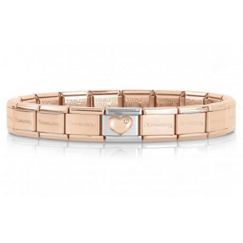 Bracelet Nomination base Acier dorée rose avec coeur oxyde en Or rose