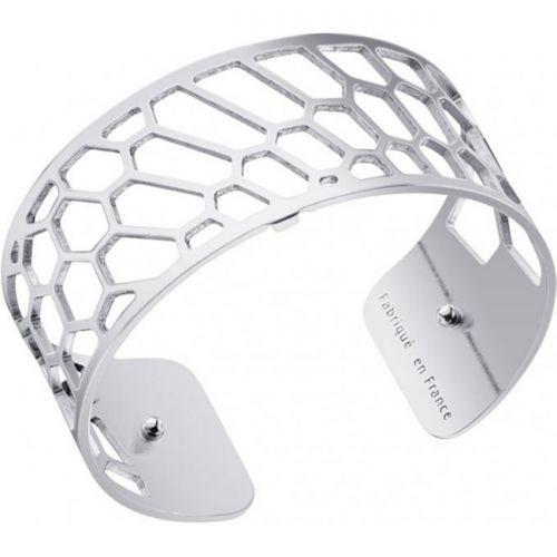 Bracelet manchette Les Georgettes motif nid d'abeille finition Argent medium