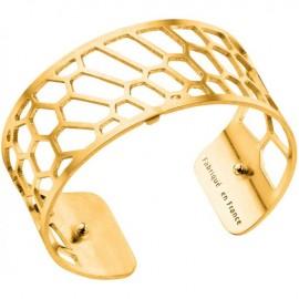 Bracelet manchette Les Georgettes motif nid d'abeille finition Or jaune medium