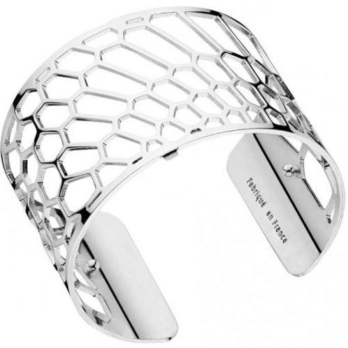 Bracelet manchette Les Georgettes motif nid d'abeille finition Argent large