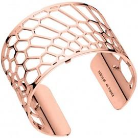 Bracelet manchette Les Georgettes motif nid d'abeille finition Or rose large