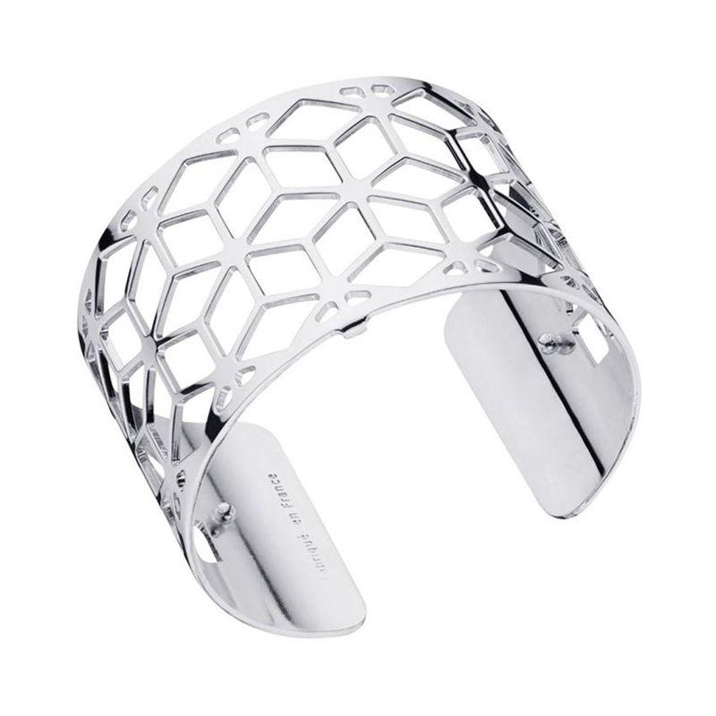 Bracelet manchette Les Georgettes motif resille finition Argent large