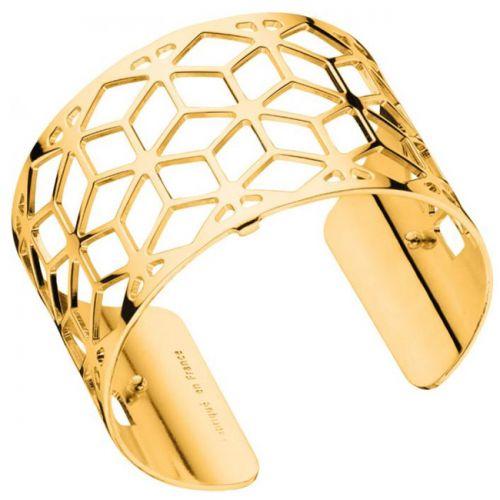 Bracelet manchette Les Georgettes motif resille finition Or jaune large