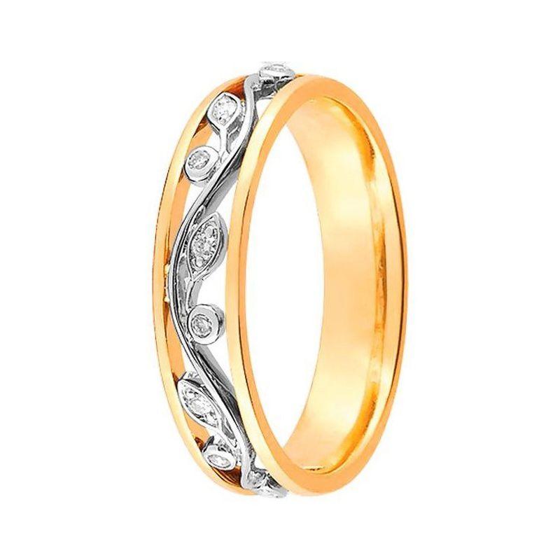 Alliance de mariage 2 Ors et Diamant