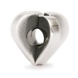Perle double coeur Trollbeads en Argent