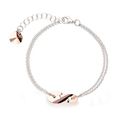Bracelet Spark Argent et cristaux Swarovski motif infini rose