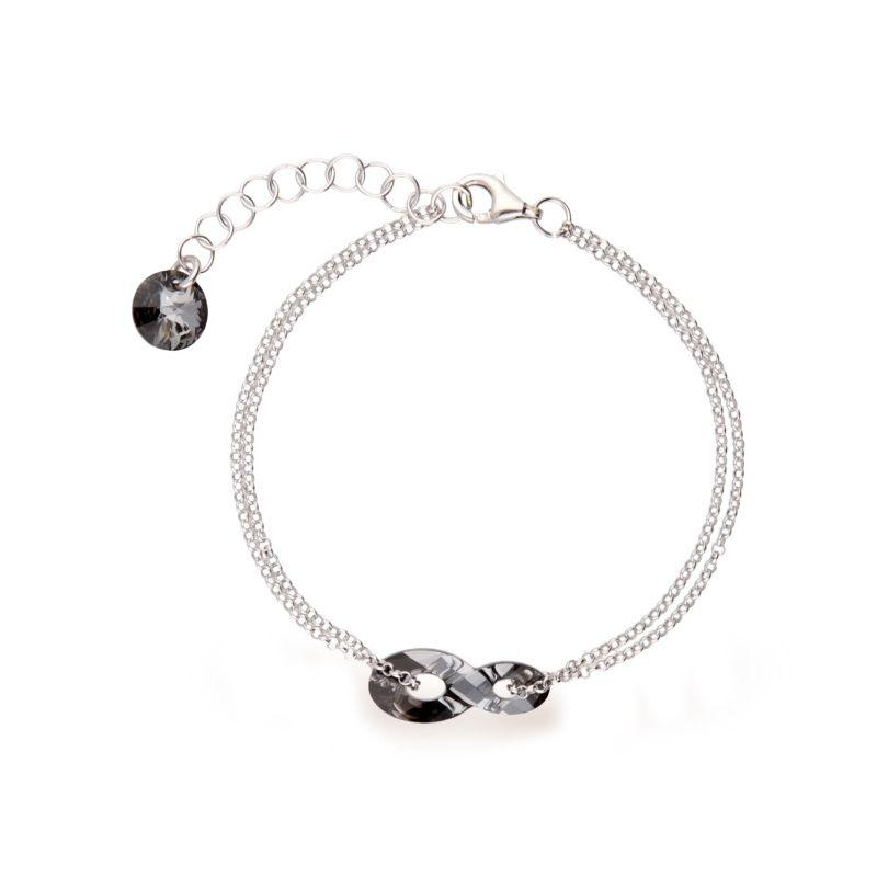 Bracelet Spark Argent et cristaux Swarovski motif infini noir