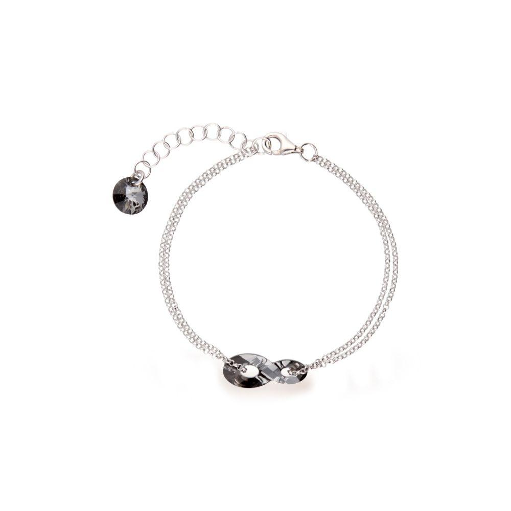 bracelet spark argent et cristaux swarovski motif infini noir. Black Bedroom Furniture Sets. Home Design Ideas