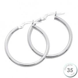 Boucles d'oreilles créoles Or blanc 750 diamètre 35 mm