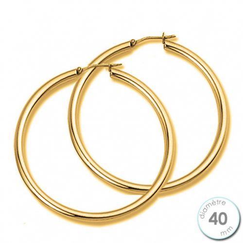 Boucles d'oreilles Créoles plaqué Or diamètre 40 mm