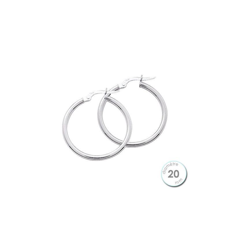 Boucles d'oreilles créoles Or blanc 375 diamètre 20 mm