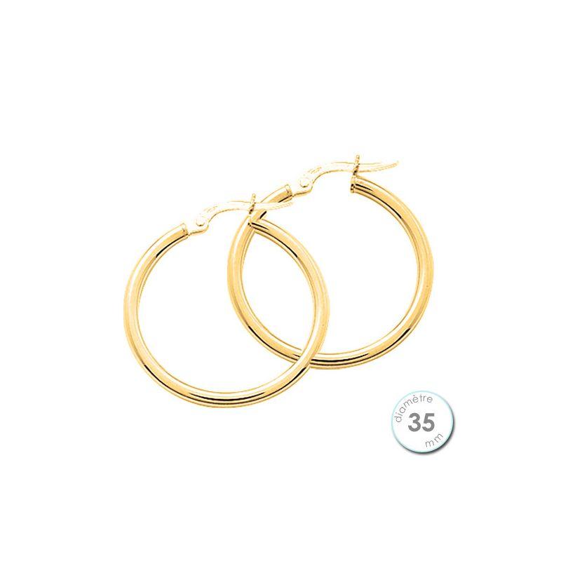 Boucles d'oreilles créoles Or jaune 750 diamètre 35 mm