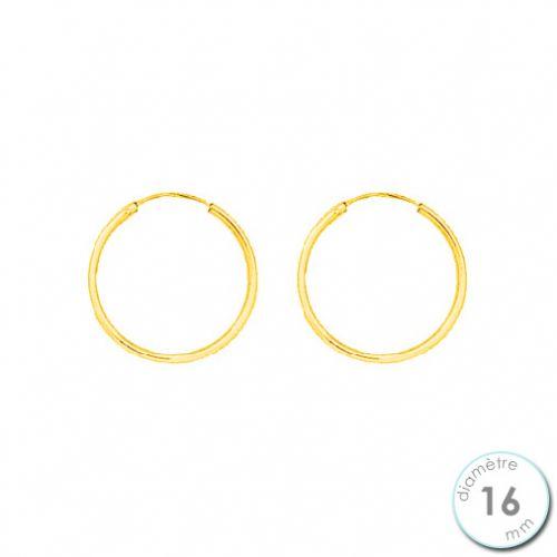 Boucles d'oreilles créoles Or jaune 750 diamètre 16 mm