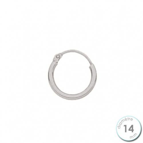 Boucle d'oreille créole à l'unité Or blanc 14 mm