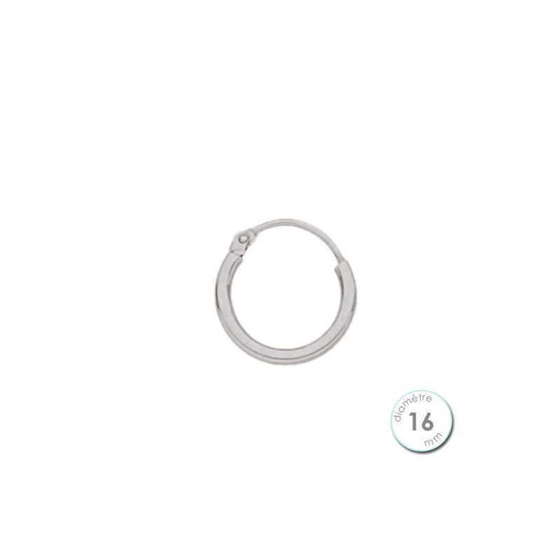 Boucle d'oreille créole à l'unité Or blanc 16 mm