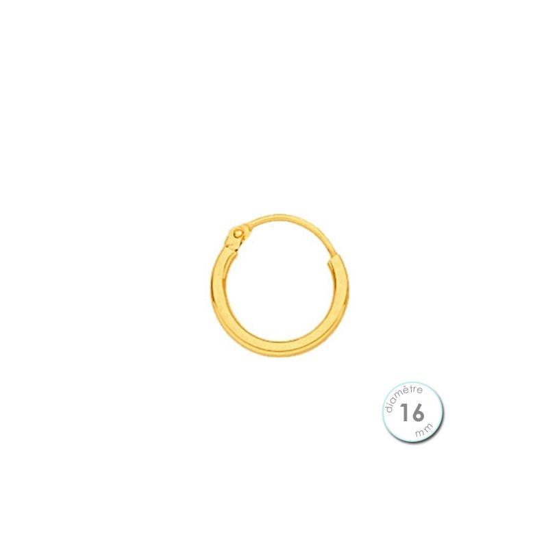 Boucle d'oreille créole à l'unité Or jaune 16 mm