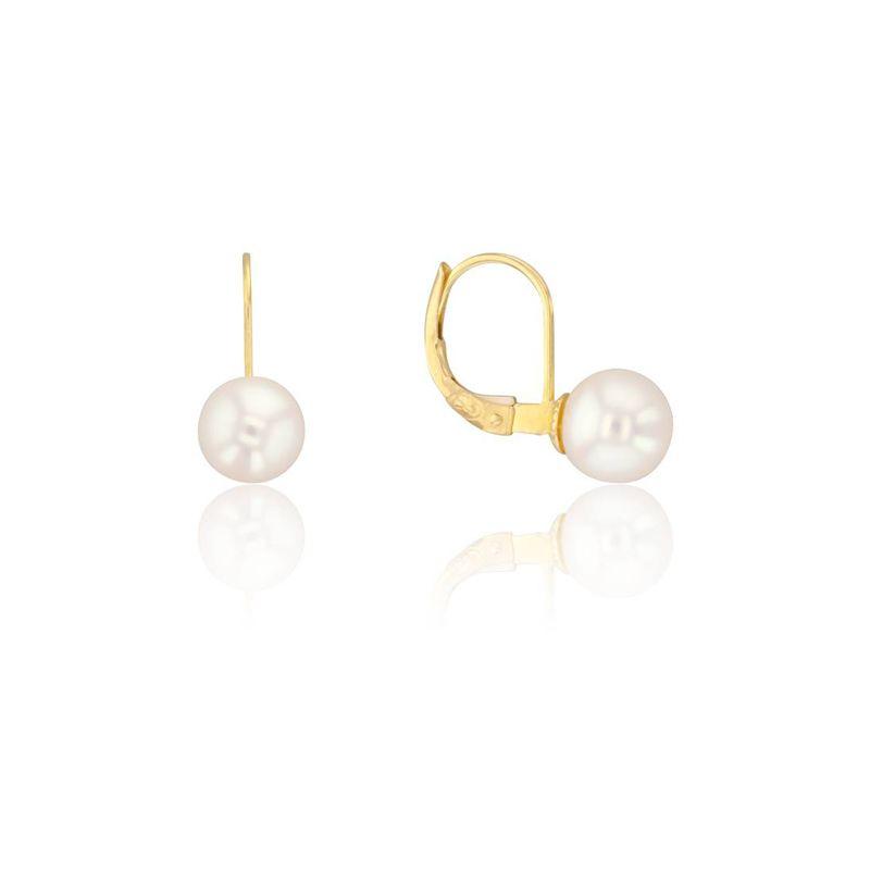 boucle d'oreille perle jaune