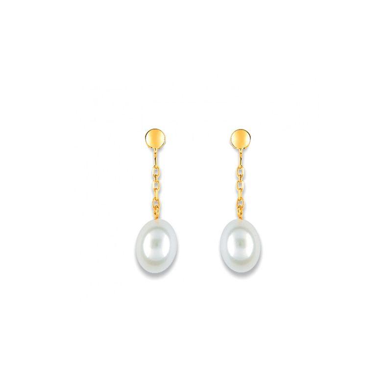 Boucles d'oreilles Or jaune et perle