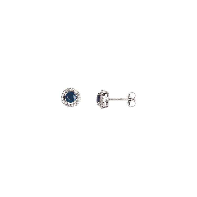 Boucles d'oreilles Or, saphirs et oxydes de zirconium