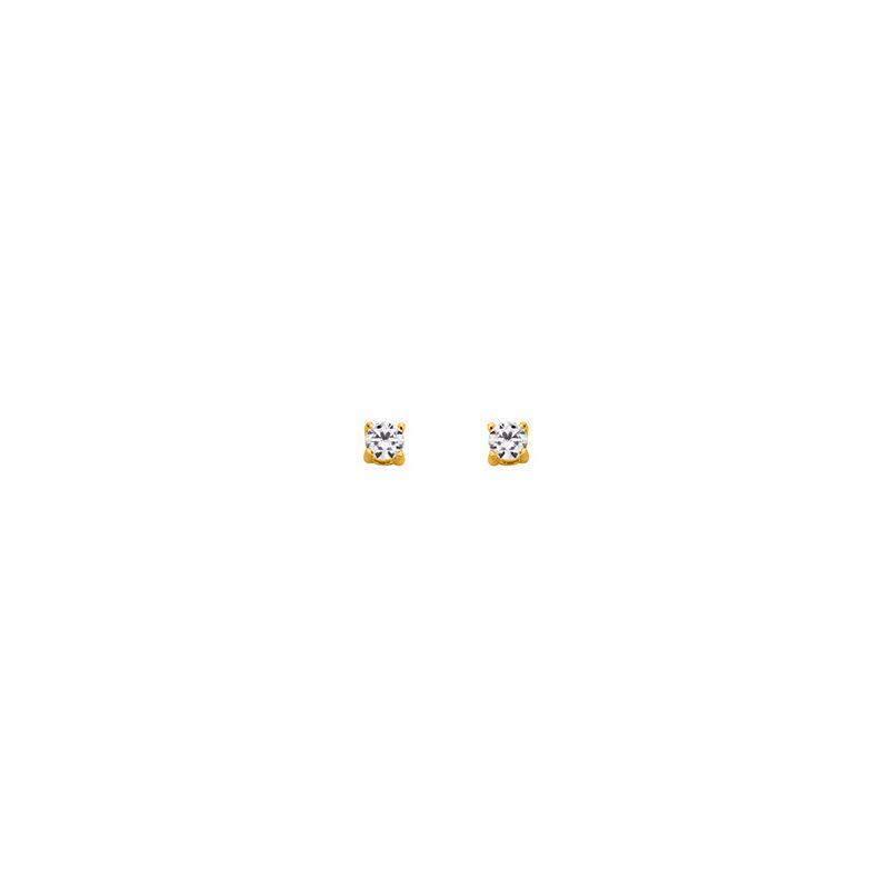 Boucles d'oreilles Plaqué Or et oxyde de zirconium diamètre 3 mm