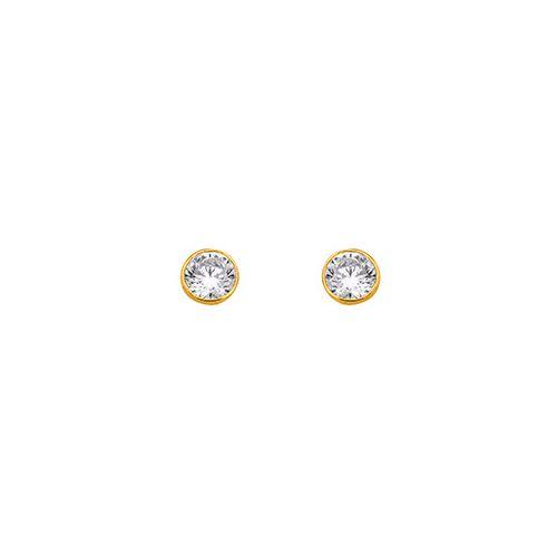 Boucles d'oreilles Plaqué Or et oxyde de zirconium diamètre 4 mm