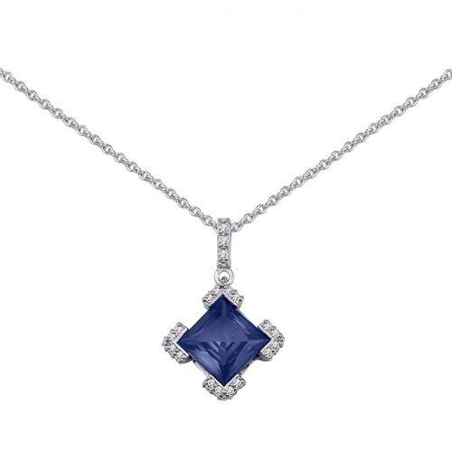 Collier Argent, pierres bleues et oxyde de zirconium