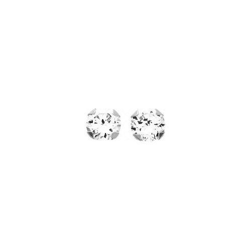 Boucles d'oreilles Or blanc et oxyde de zirconium diamètre 4 mm