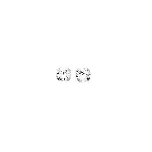Boucles d'oreilles Or blanc et oxyde de zirconium diamètre 3 mm