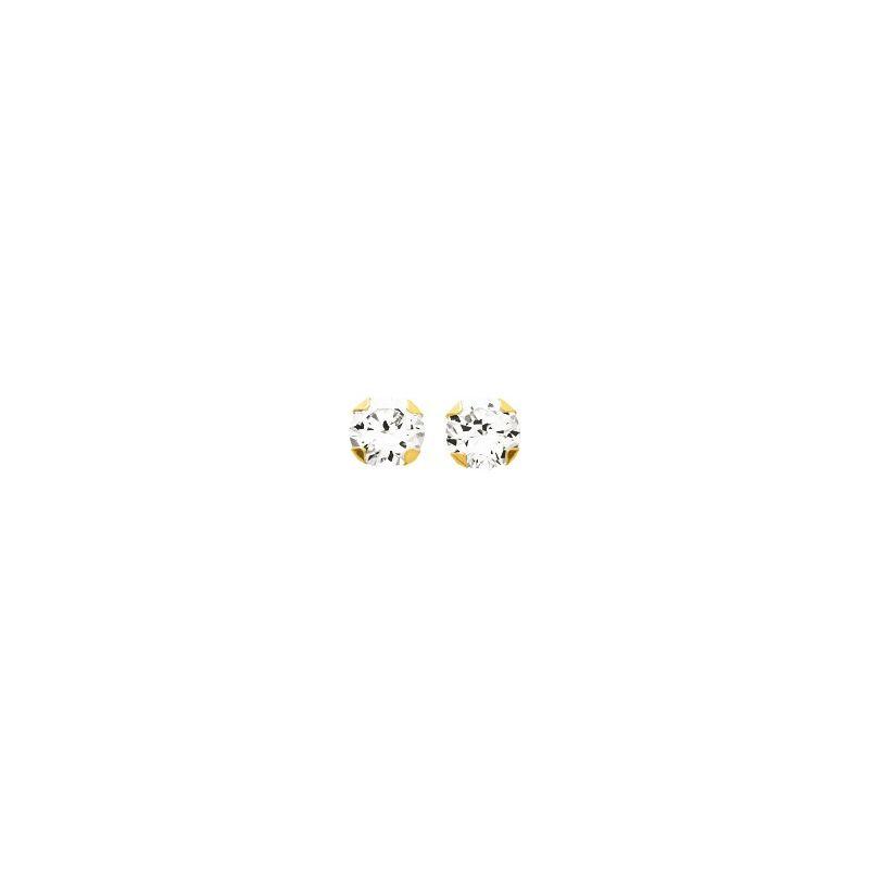 Boucles d'oreilles Or et oxyde de zirconium diamètre 4 mm