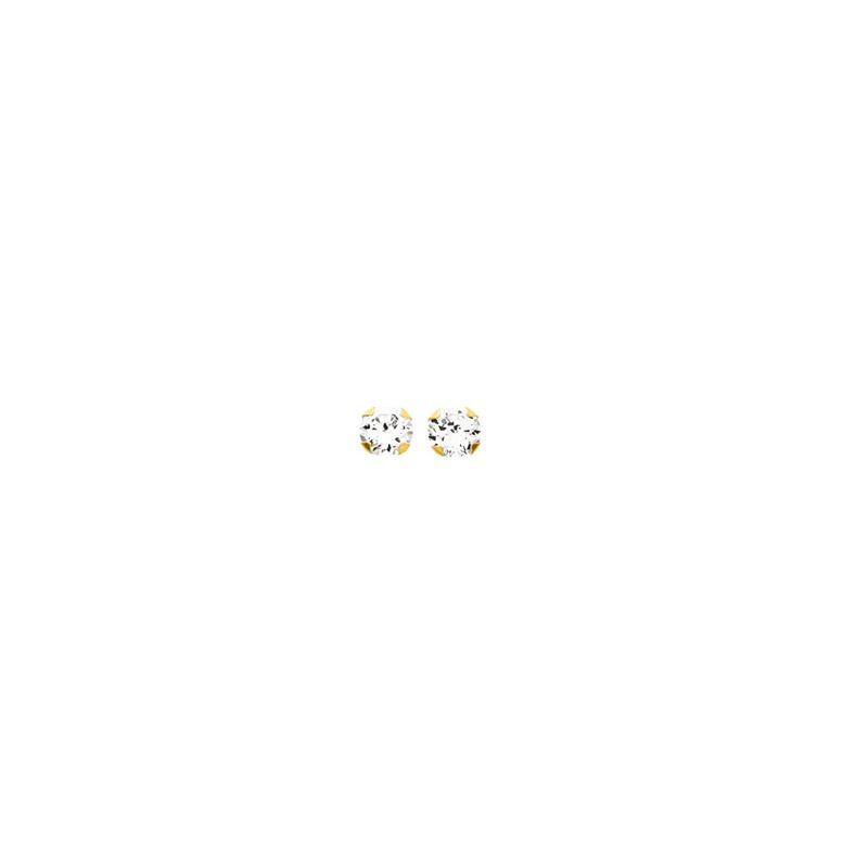 Boucles d'oreilles Or et oxyde de zirconium diamètre 3 mm